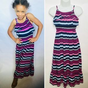 Girl's Sleeveless Navy Pink Striped Max Dress NEW